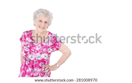 Portrait of a beautiful happy woman against a white background - stock photo