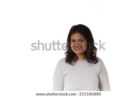 Portrait of a beautiful indian woman isolated on white - stock photo