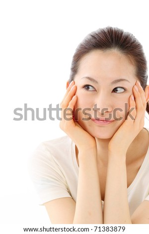 Portrait of a beautiful japanese woman on white background