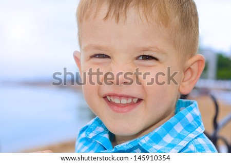 Portrait of a beautiful laughing a little boy - stock photo