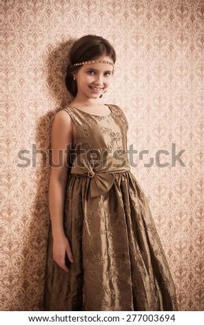 Portrait of a beautiful little girl - stock photo