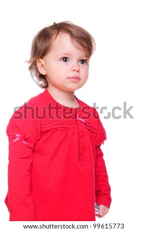 portrait of a beautiful little girl in a red dress. isolated on a white background