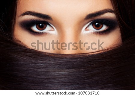 portrait of a beautiful  make-up artist - stock photo