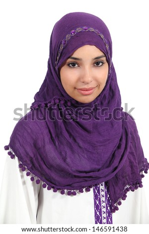 Portrait of a beautiful muslim woman isolated on a white background          - stock photo