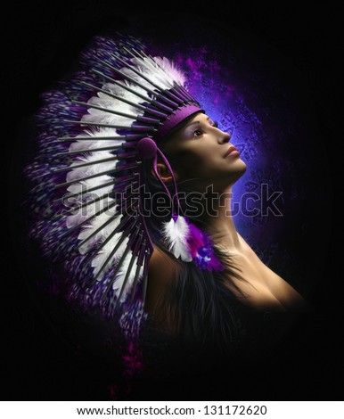 Portrait of a beautiful native American female with long black hair wearing a tribal headdress. - stock photo