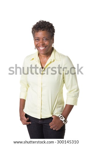 Portrait of a beautiful older woman, isolated  - stock photo