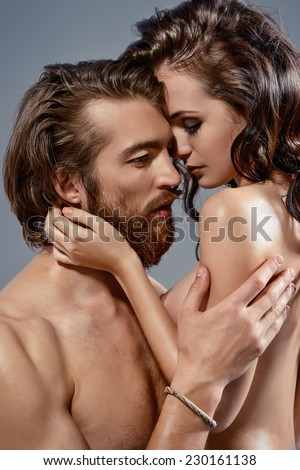 Portrait of a beautiful passionate lovers. Love concept.    - stock photo