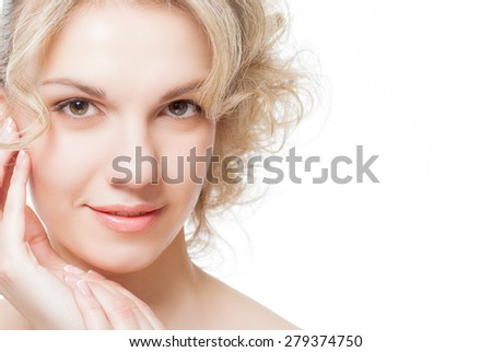 Portrait of a beautiful pure woman's face. Isolated on a white background - stock photo