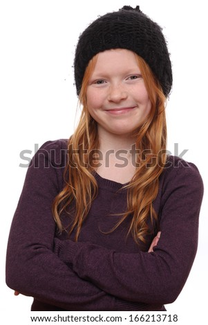 Portrait of a beautiful red-haired girl on white background - stock photo