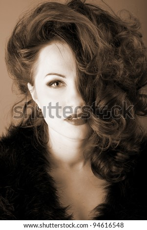 portrait of a beautiful red-haired woman with red lips