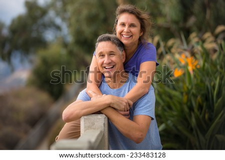 Portrait of a beautiful senior fifties couple - stock photo