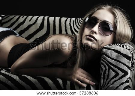 Portrait of a beautiful sexual female model. Beauty, fashion. - stock photo