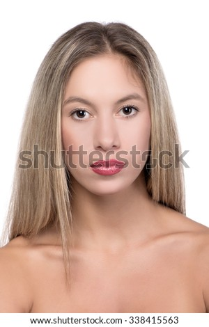 Portrait of a beautiful sexy blonde girl on a white background,