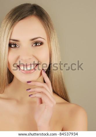 Portrait of a beautiful sexy female girl - stock photo