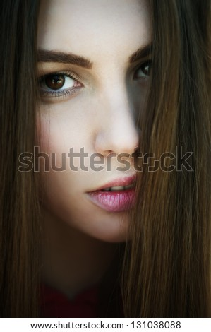 portrait of a beautiful sexy girl with perfect skin closeup - stock photo