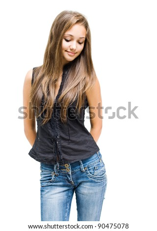 Portrait of a beautiful shy young brunette girl isolated on white background. - stock photo