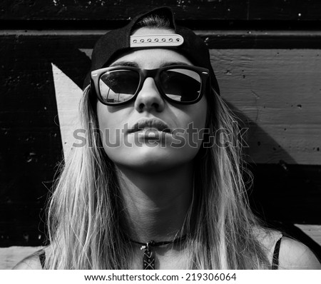 Portrait of a beautiful skater girl - stock photo