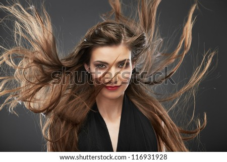 Portrait of a beautiful smile young woman isolated against gray background