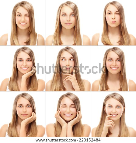 Portrait of a beautiful smiling blond girl.  - stock photo