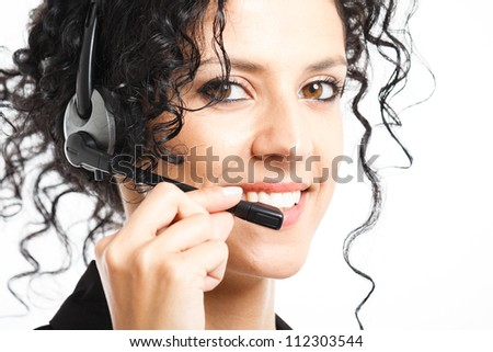 Portrait of a beautiful smiling customer representative - stock photo