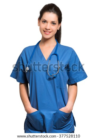 Portrait of a beautiful smiling nurse. Isolated on white - stock photo