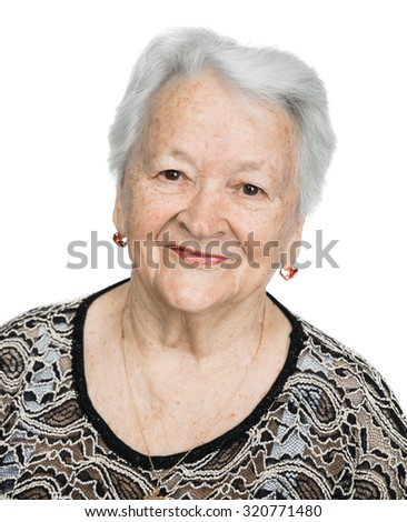 Portrait of a beautiful smiling senior woman over white background - stock photo