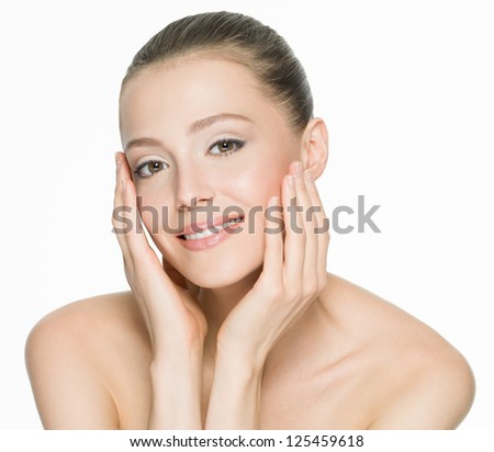 Portrait of a beautiful smiling woman with clean skin - isolated
