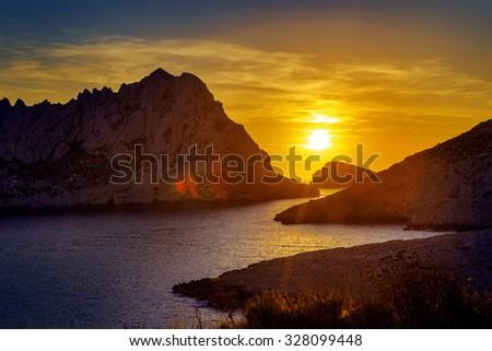 Portrait of a beautiful sunset - stock photo