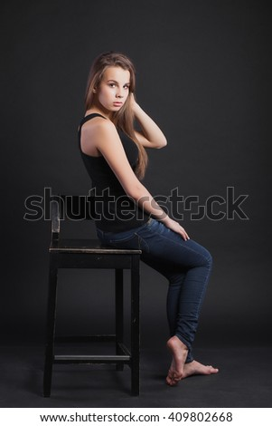 Portrait of a beautiful teen girl in the studio