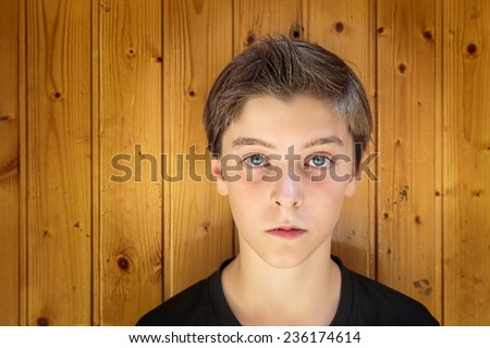 portrait of a beautiful teenage boy in front of a wood plank wall - stock photo