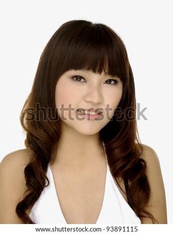 portrait of a beautiful teenage girl smiling- close up - stock photo