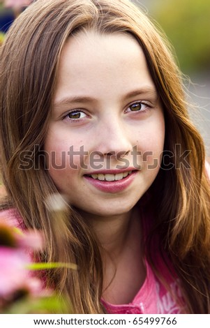 Portrait of a beautiful teenager girl outdoor - stock photo