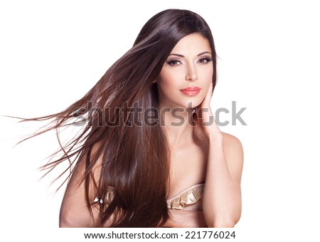 Portrait of a beautiful white pretty woman with long straight hair - stock photo