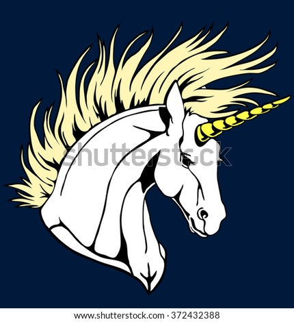 Portrait of a beautiful white unicorn on a dark-blue background