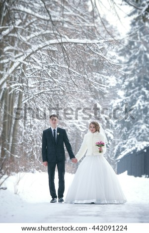 Portrait of a beautiful wife and a husband to the outdoors in winter - stock photo
