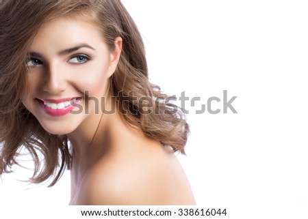 Portrait of a beautiful woman close up, isolated on a white background. Beauty and fashion. - stock photo