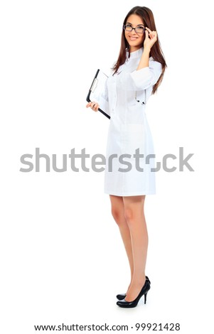 Portrait of a beautiful woman doctor. Isolated over white background. - stock photo