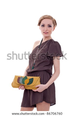 Portrait of a beautiful  woman in brown dress isolated on white background - stock photo