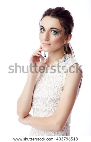 portrait of a beautiful woman isolated on white - stock photo