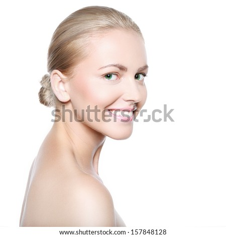 Portrait of a beautiful woman on a white background - stock photo