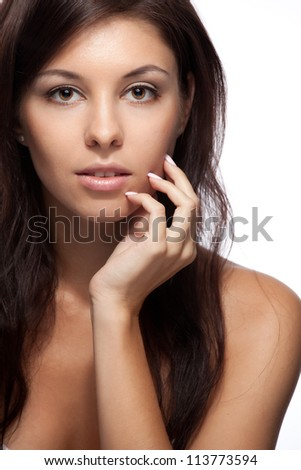 Portrait of a beautiful woman on white background - stock photo