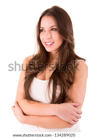 Portrait of a beautiful woman posing over white background