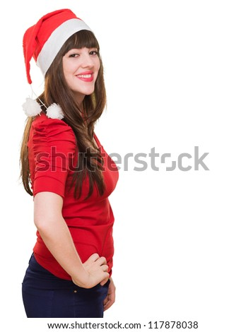 portrait of a beautiful woman wearing a christmas hat