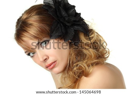 portrait of a beautiful woman with an elegant hat