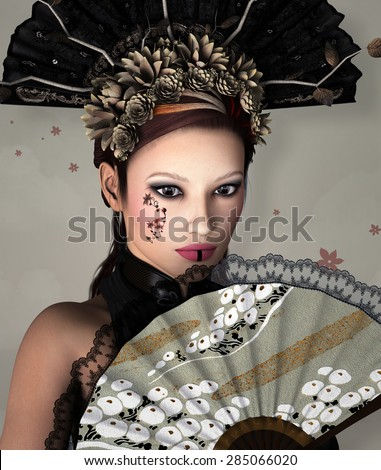 Portrait of a beautiful woman with fan - stock photo