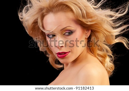 portrait of a beautiful woman with flowing hair