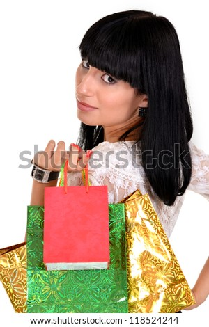 portrait of a beautiful woman with packages - stock photo