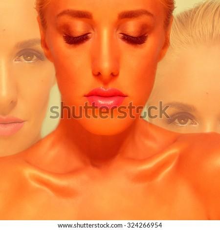 Portrait of a beautiful women, women with clean tan skin - stock photo