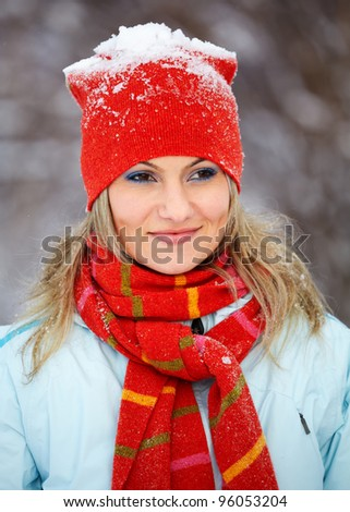 Portrait of a beautiful 20 year old woman outdoor in winter.