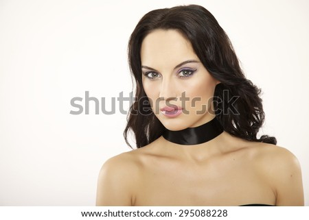 portrait of a beautiful young adult sensuality attractive pretty brunette woman isolated on white background - stock photo